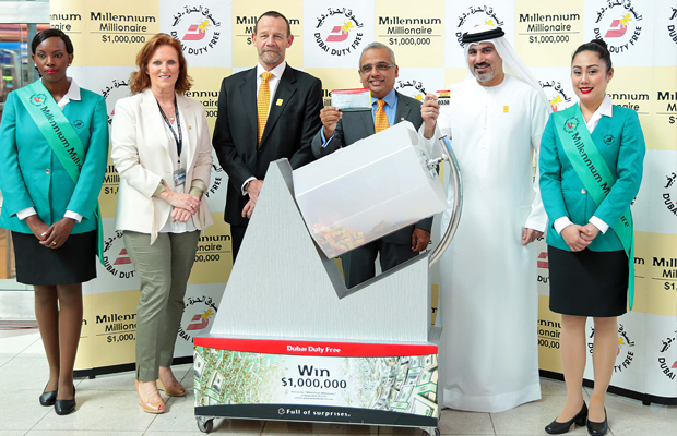 Dubai Duty Free Millennium Millionaire draw being conducted at Dubai International Airport.