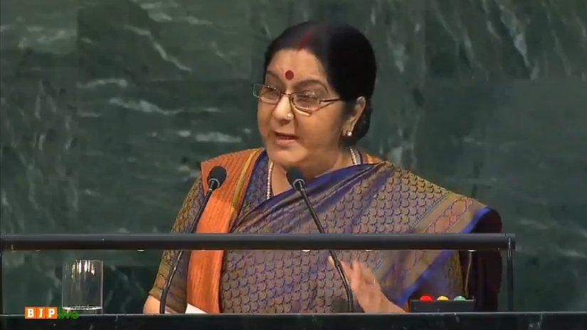 EAM Sushma Swaraj addressing the UN General Assembly.