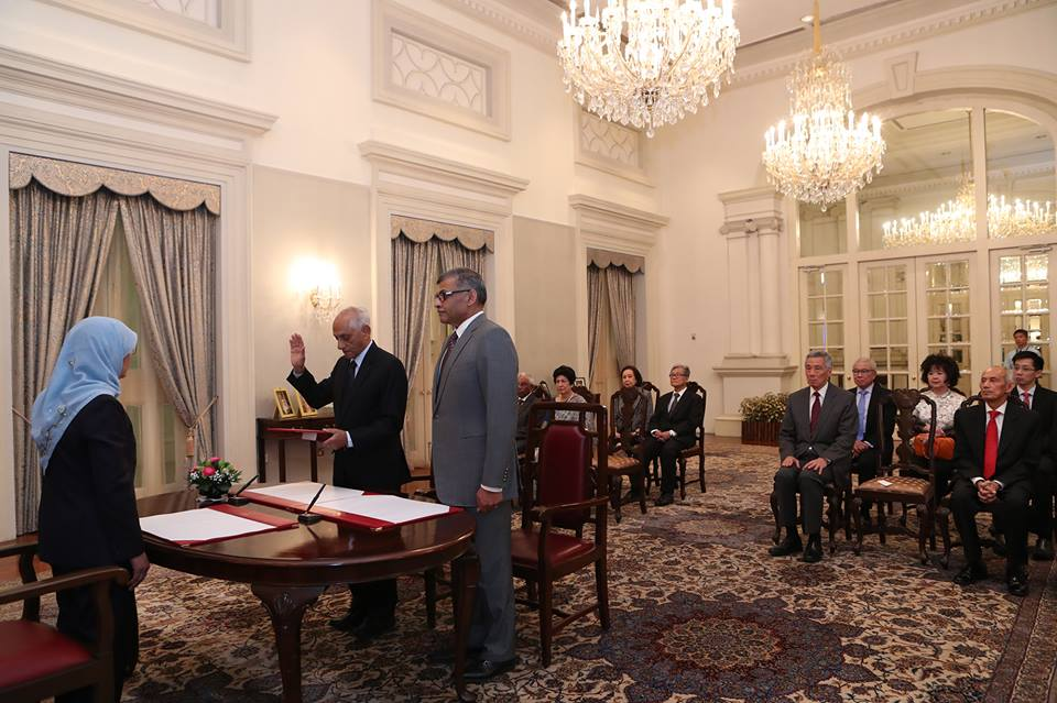 JY Pillay being sworn in as the chairman of the Council of Presidential Advisers (CPA)