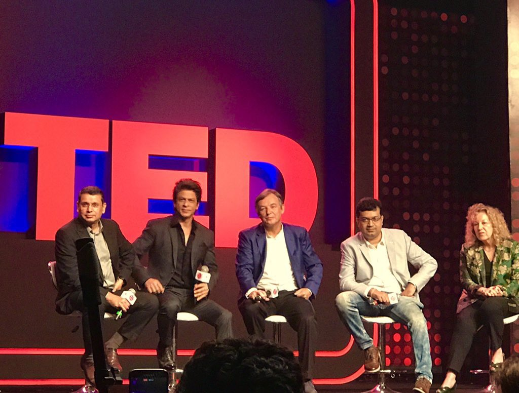 Shah Rukh Khan (2nd left) at the launch of TED Talks India Nayi Soch.