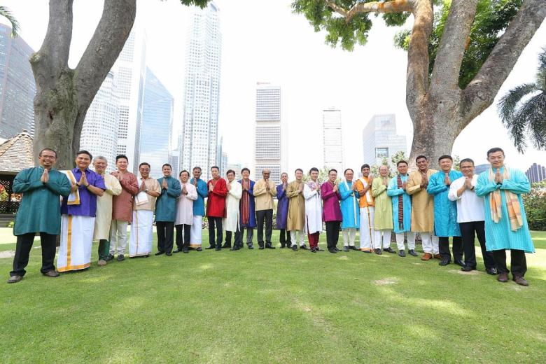 Singaporean MPs wearing colourful Indian traditional outfits for Deepavali fashion shoot.