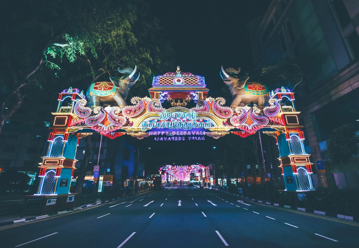 Visitors are welcomed in 'Little India' through two main archways by two giant elephants.