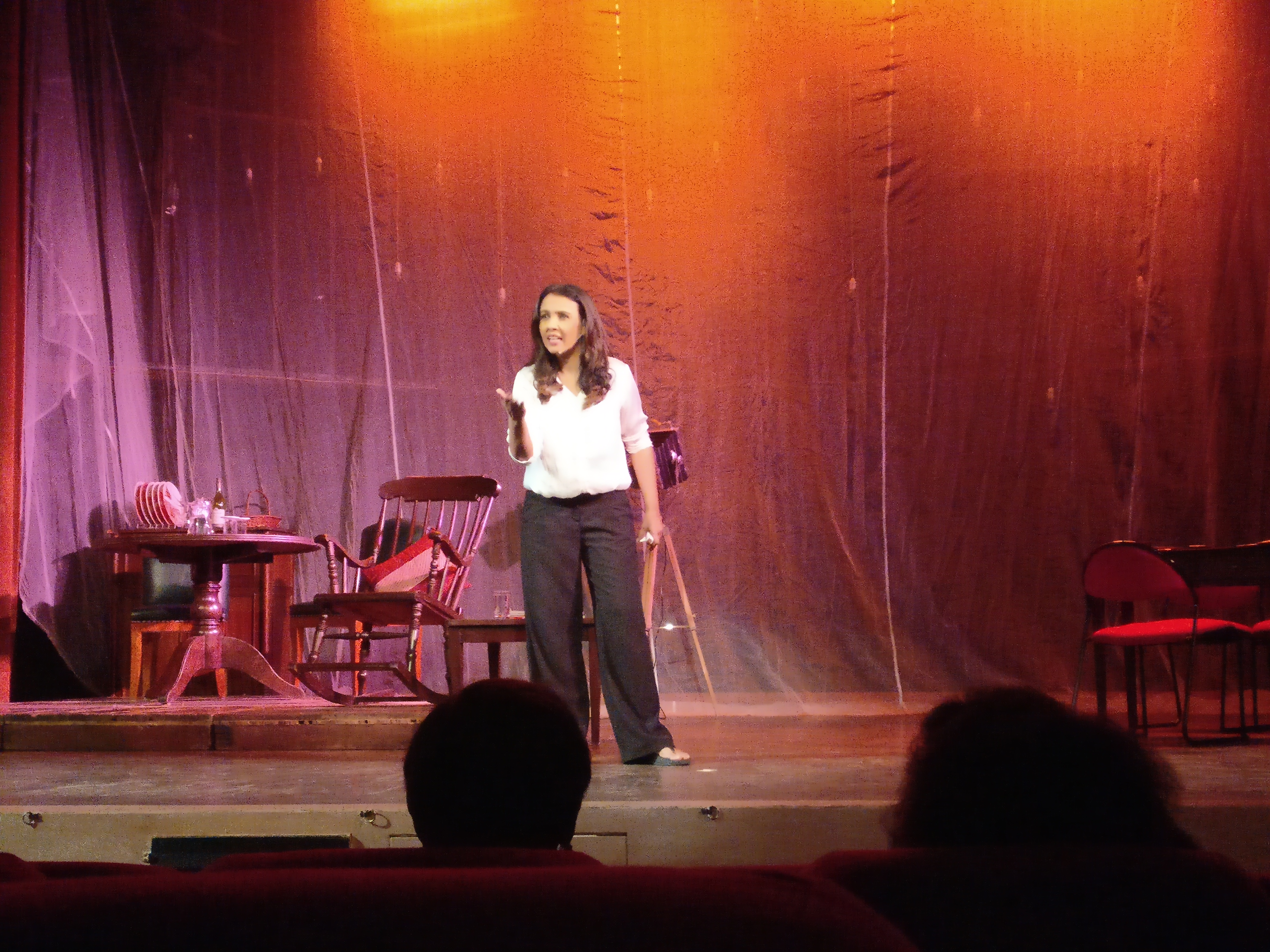 Suchitra Krishnamoorthi performing at the Old World Theatre Festival