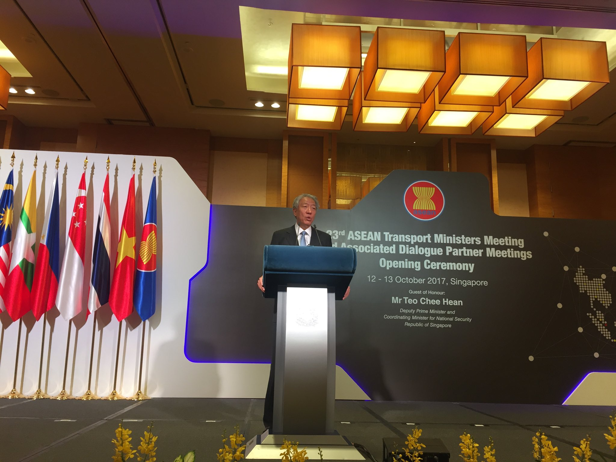 Singapore DPM Teo Chee Hean hosting the ASEAN Transport Ministers Meeting.