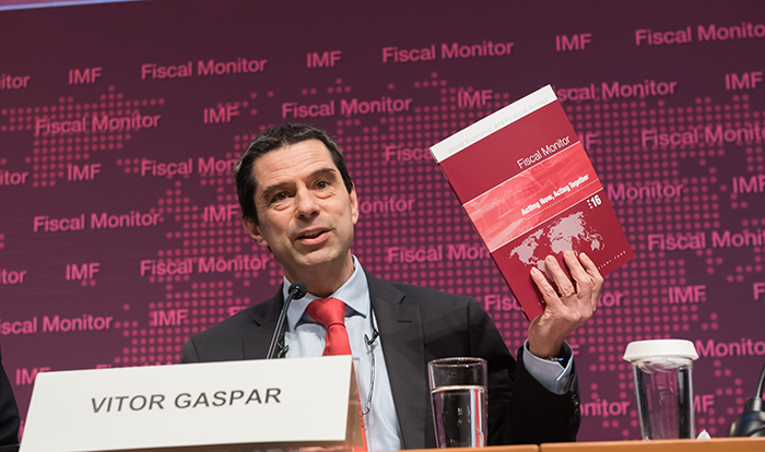 Vitor Gaspar, the Director of the IMF Fiscal Affairs Department, with the Fiscal Monitor report.