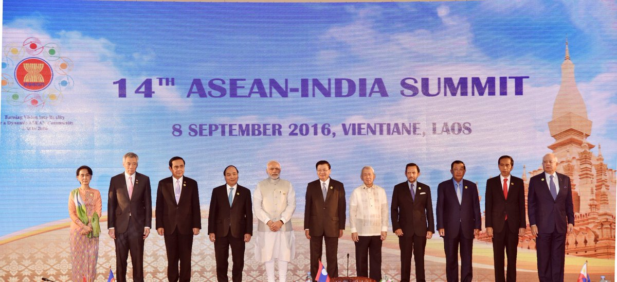 PM Modi with ASEAN leaders at the 2016 summit.