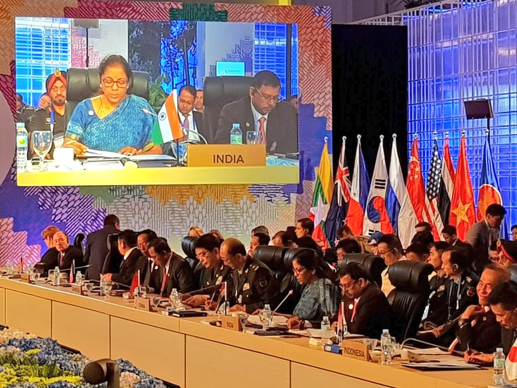 Indian Defence Minister Nirmala Sitharaman addresses the 4th ASEAN Defense Minister's Meeting Plus in Clark, Philippines.