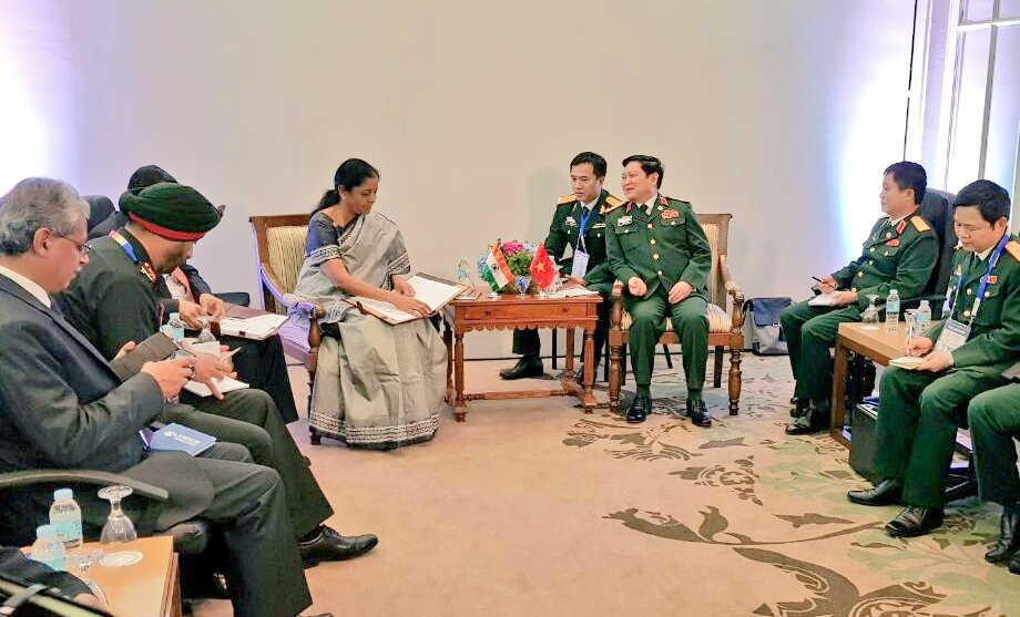 Indian Defence Minister Nirmala Sitharaman meets Minister of Defence, Vietnam, Gen Ngo Xuan Lich in Clark, Philippines