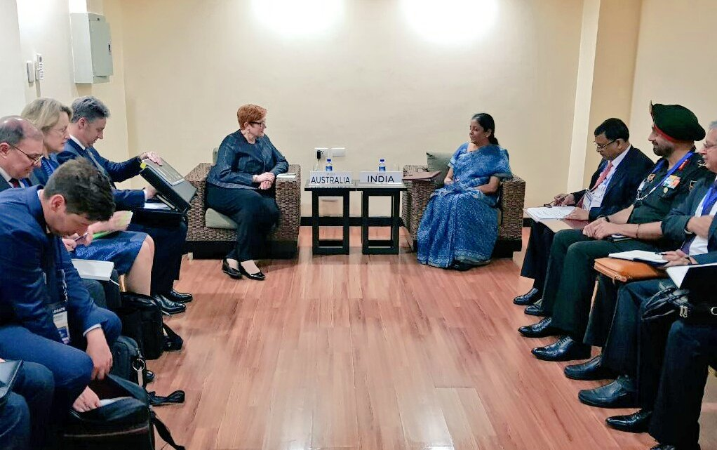 Indian Defence Minister Nirmala Sitharaman meets Minister for Defence, Australia, Marise Payne in Clark, Philippines