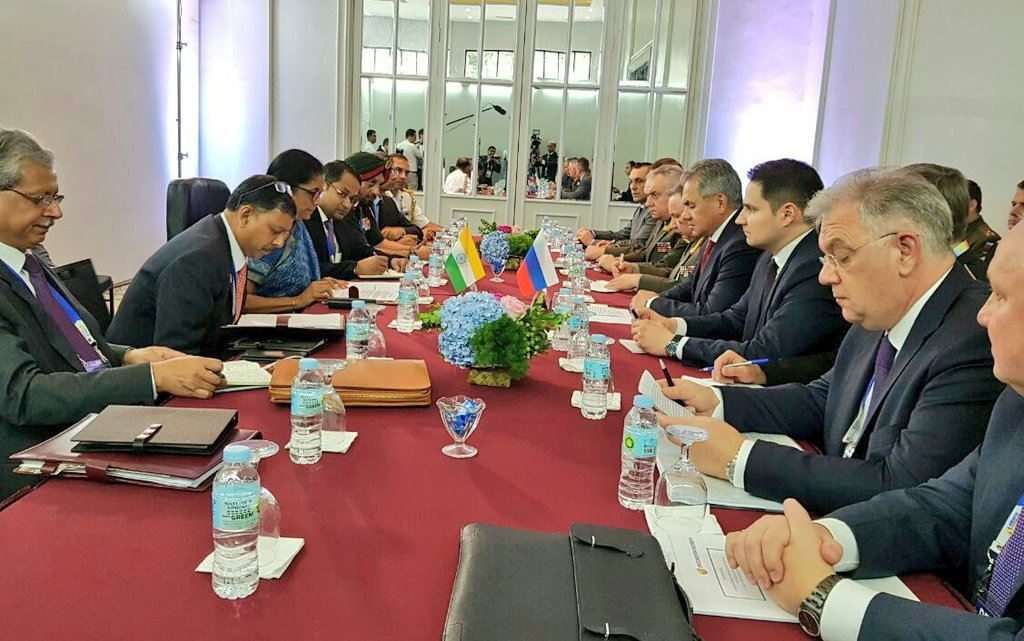 Indian Defence Minister Nirmala Sitharaman meets Minister of Defence, Russia, Gen Sergei Shoygu in Clark, Philippines