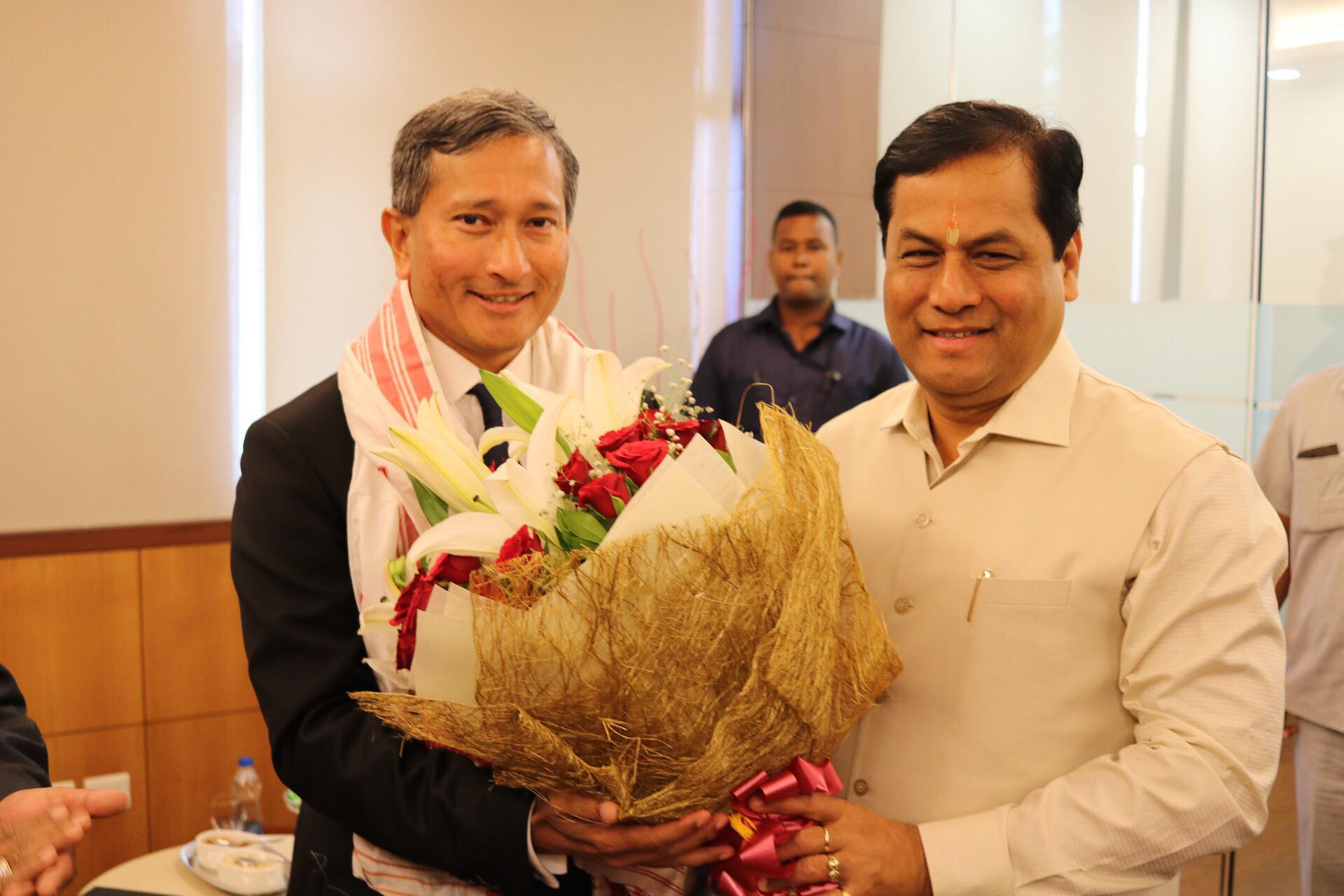 Singapore Minister for Foreign Affairs Dr Vivian Balakrishnan being welcomed by Sarbananda Sonowal, Chief Minister of Assam