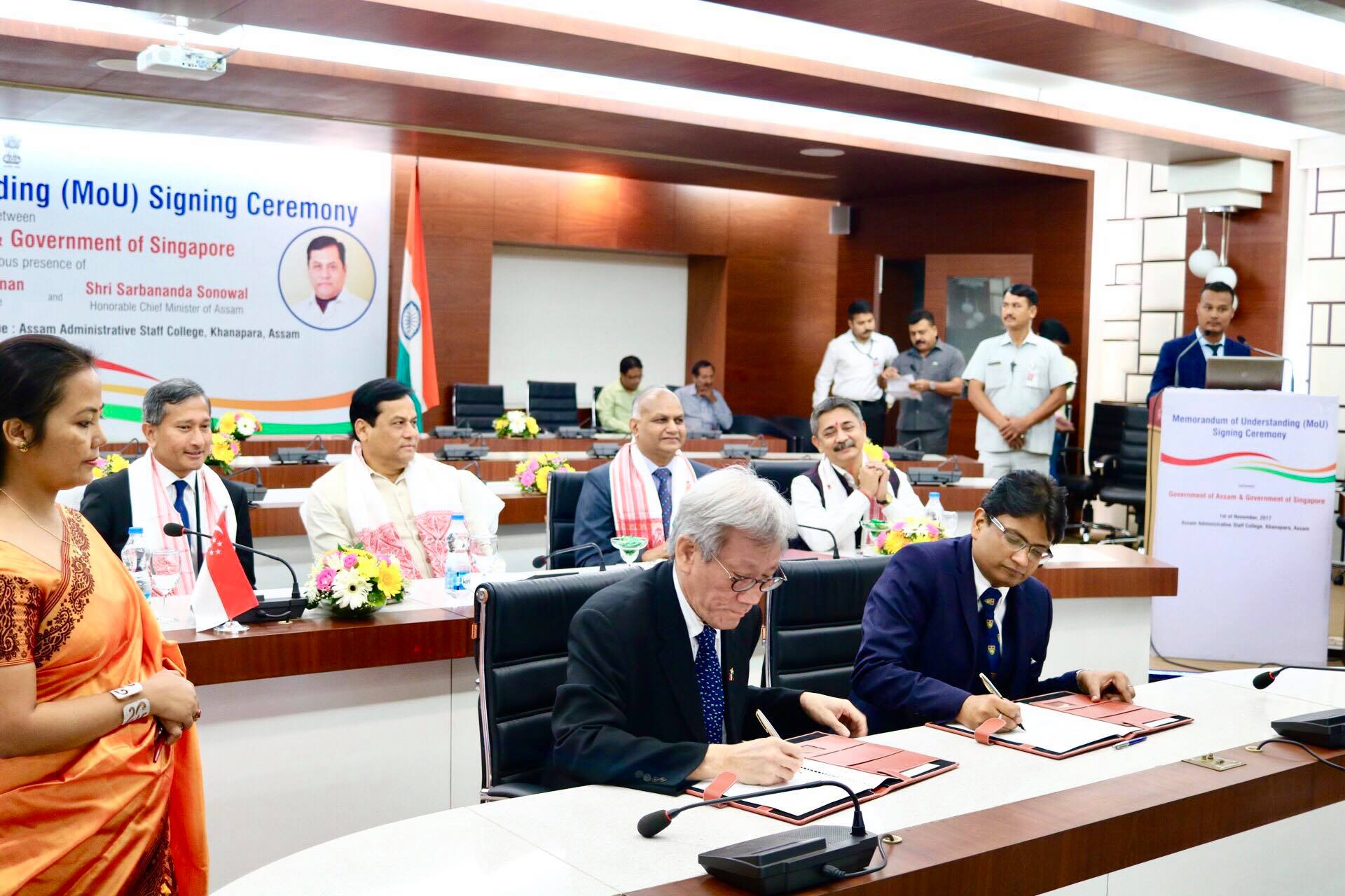Singapore Minister for Foreign Affairs Dr Vivian Balakrishnan looks on the signing of MoU on North East Skills Centre by Singapore High Commissioner Lim Thuan Kuan and Assam Principal Secretary of Skills Ashutosh Agnihotri.