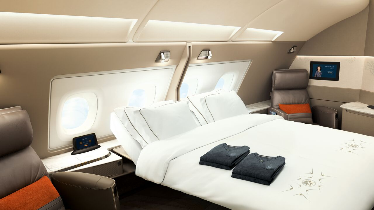 The new suite of SIA's Airbus A380 provides comfort of a 'homely' bedroom.