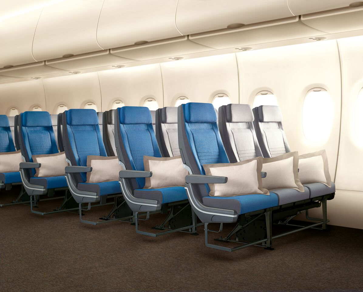 New seats in economy class offer more legroom and back support.