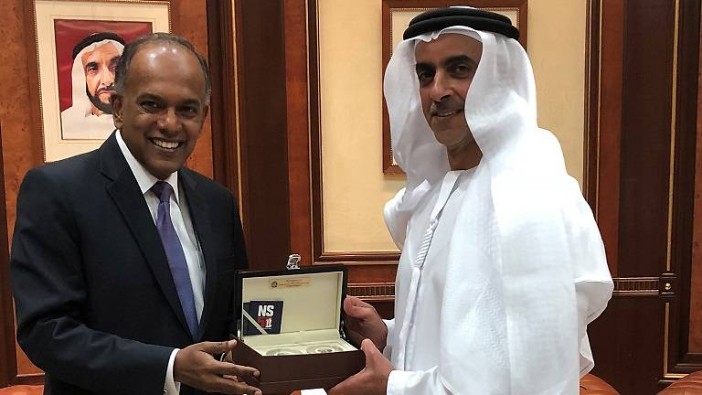 K Shanmugam, Home Affairs and Law Minister of Singapore meeting Saif Bin Zayed Al Nahyan, UAE Deputy Prime Minister during the Minister visit to Middle East countries.