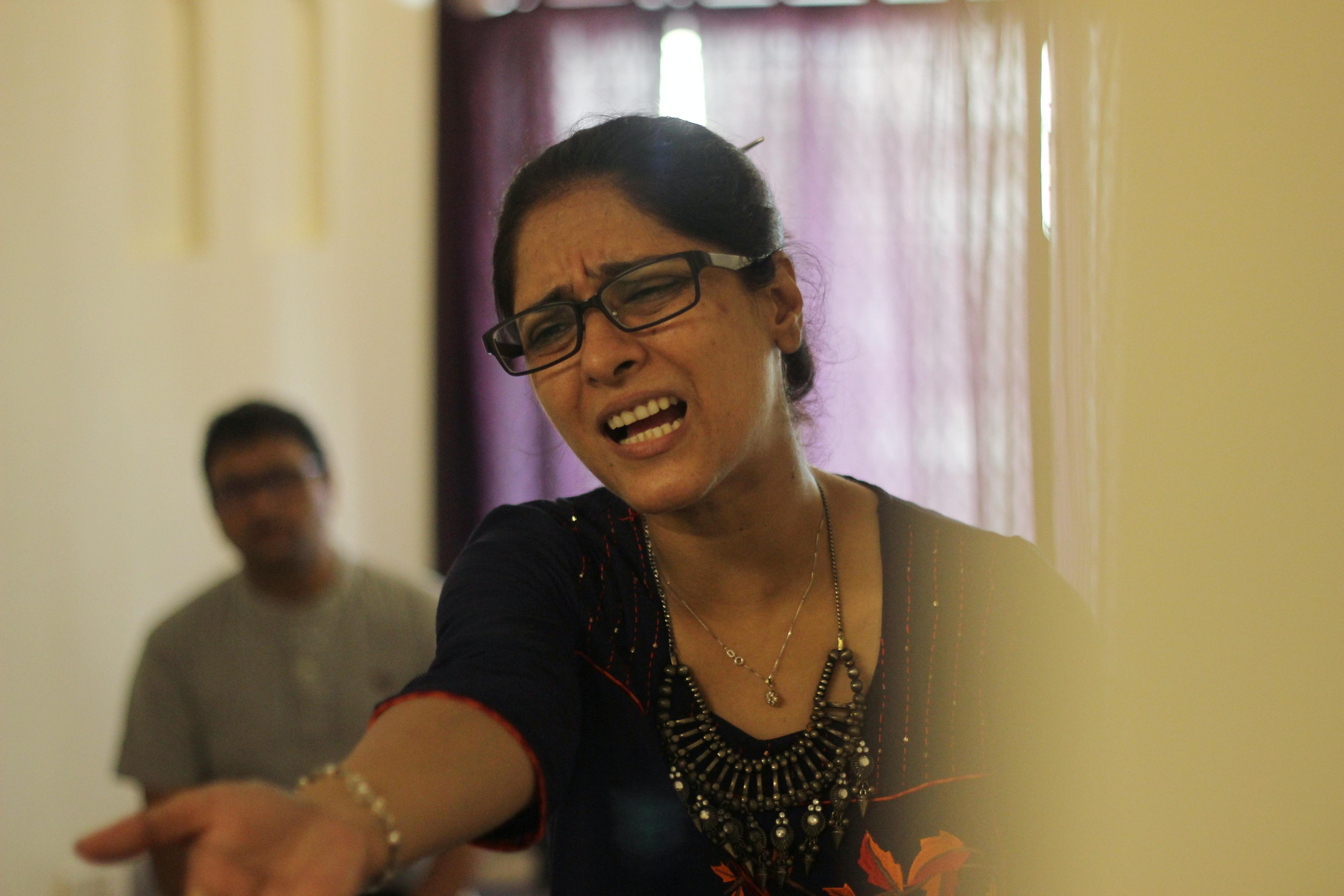 Gopal Daat (background) supervising rehearsals for 'Hum Kaun Tum Kaun'.