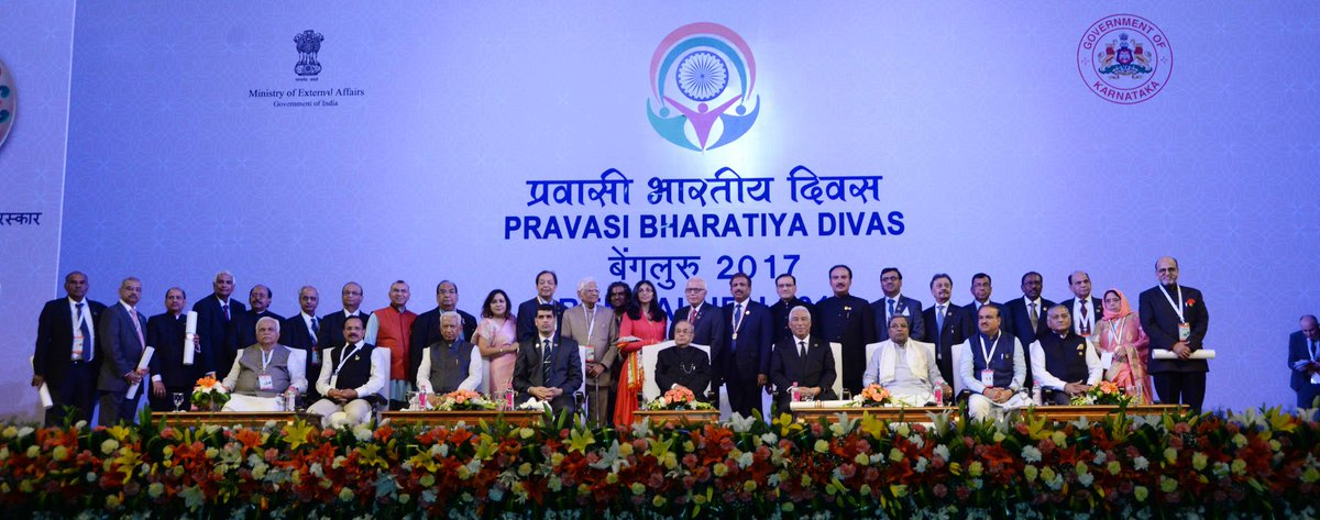 Pravasi Bharatiya Samman Awardees pose for a picture with President Pranab Mukherjee. Photo courtesy: Twitter page of PBD2017
