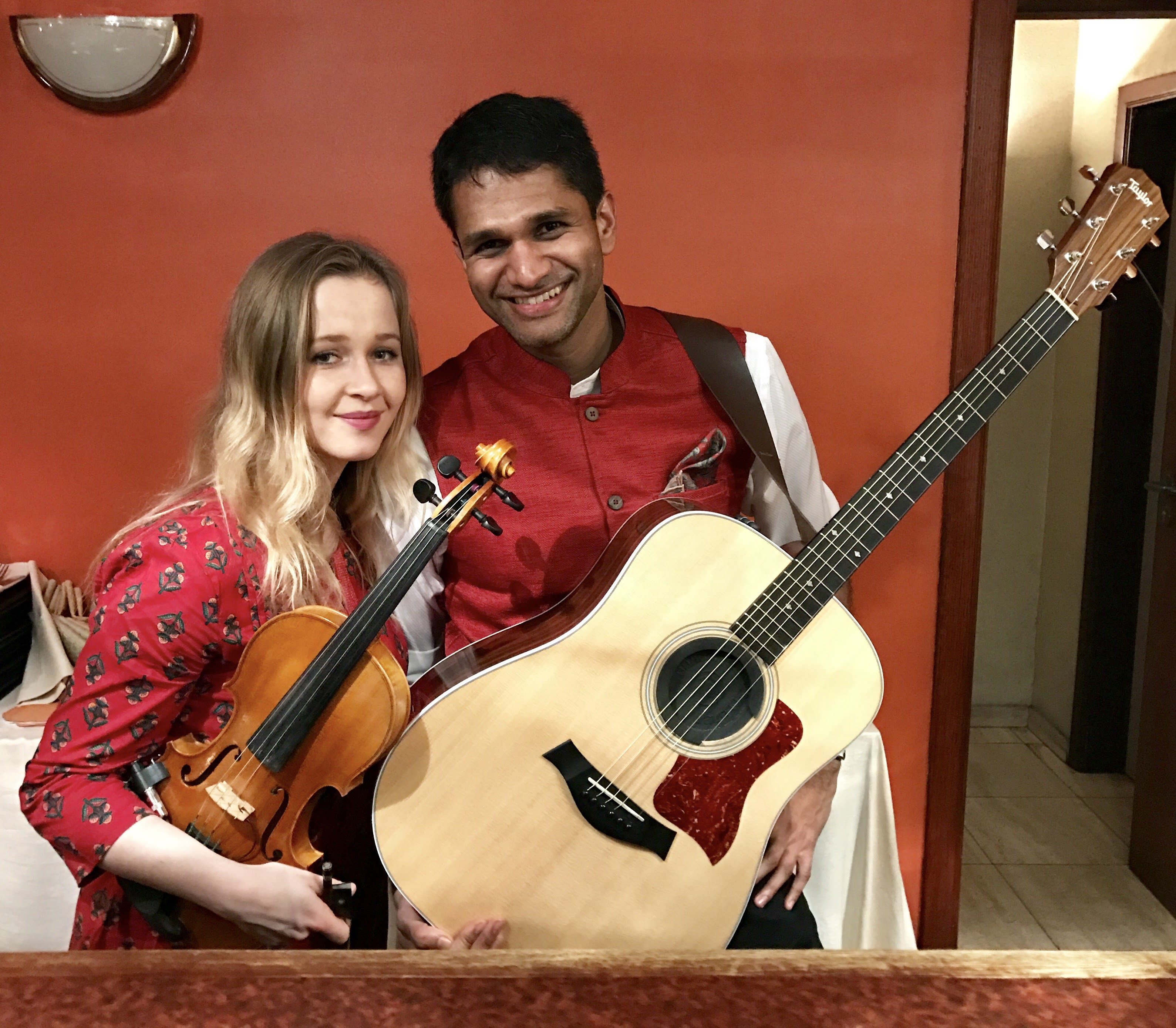 Sylwia Malachowska and I(Rahul Venkit) after an acoustic Bollywood gig in Brussels.