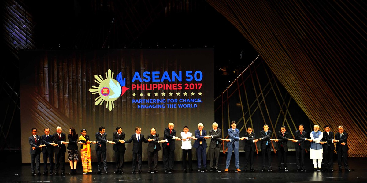 ASEAN celebrates 50 years of robust cooperation and working towards a better tomorrow. India cherishes the strong ties with the @ASEAN family.