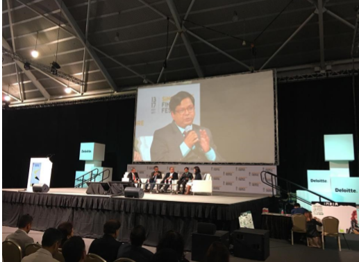 Experts discussing about the challenges and opportunities presented by the FinTech boom at the ongoing Singapore Fintech Festival.
