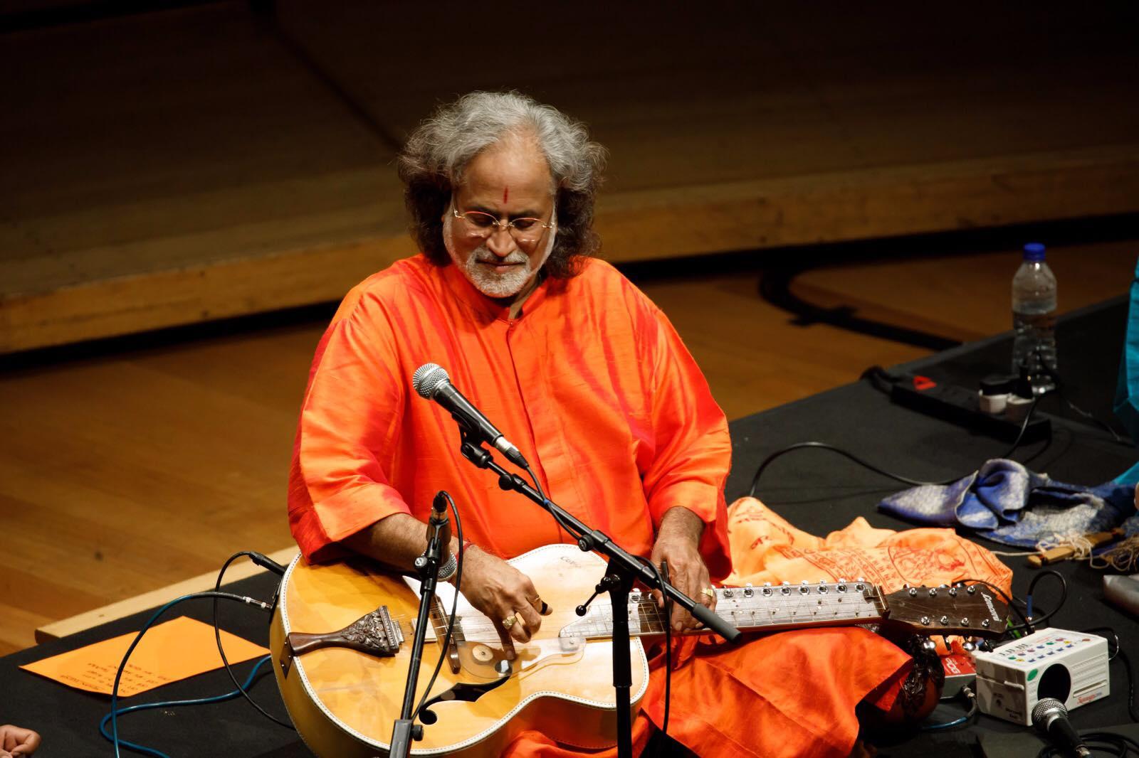 Pandit Vishwa Mohan Bhatt performing during in Kalaa Utsavam on 18th November. Photo courtesy: Esplanade - Theatres by the Bay.