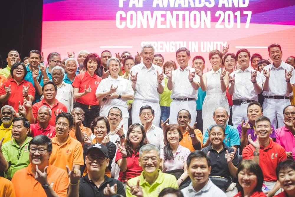 Prime Minister Lee Hsien Loong along with members of labour movement during PAP convention in Singapore.
