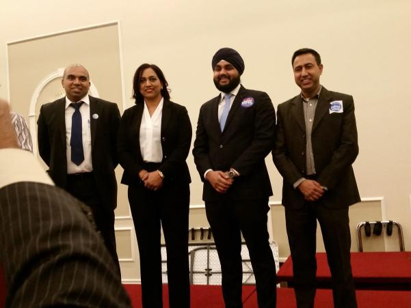 Candidates for PC nomination in Mississauga Malton are (from left to right) Clyde Roach, Rajinder Bal, Hardeep Grewal, and Deepak Anand