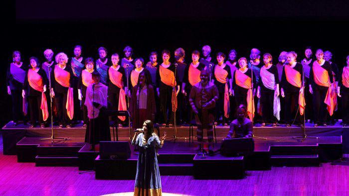 Sonam Kalra performing at the Sydney Opera House in Australia.