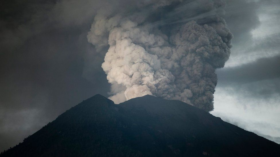 Ash spewing from Mt Agung in Bali.