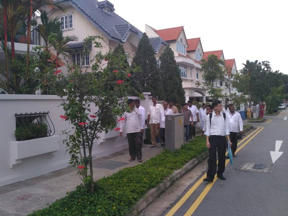 The farmers visiting HDB housing projects in Singapore.