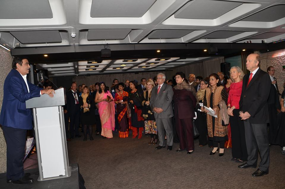 Hon. Minister Nitin Gadkari High Commissioner YK Sinha & Lord Mayor of London flagging-off Bharat Symphony -the final major event in the India-UK Year of Culture calendar in the UK at a Reception at Barbican Centre attended by eminent experts from the world of culture in UK