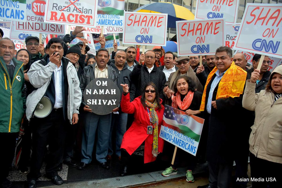 Vandana Jhingan (centre) during a protest against a CNN programme 'Believer'.