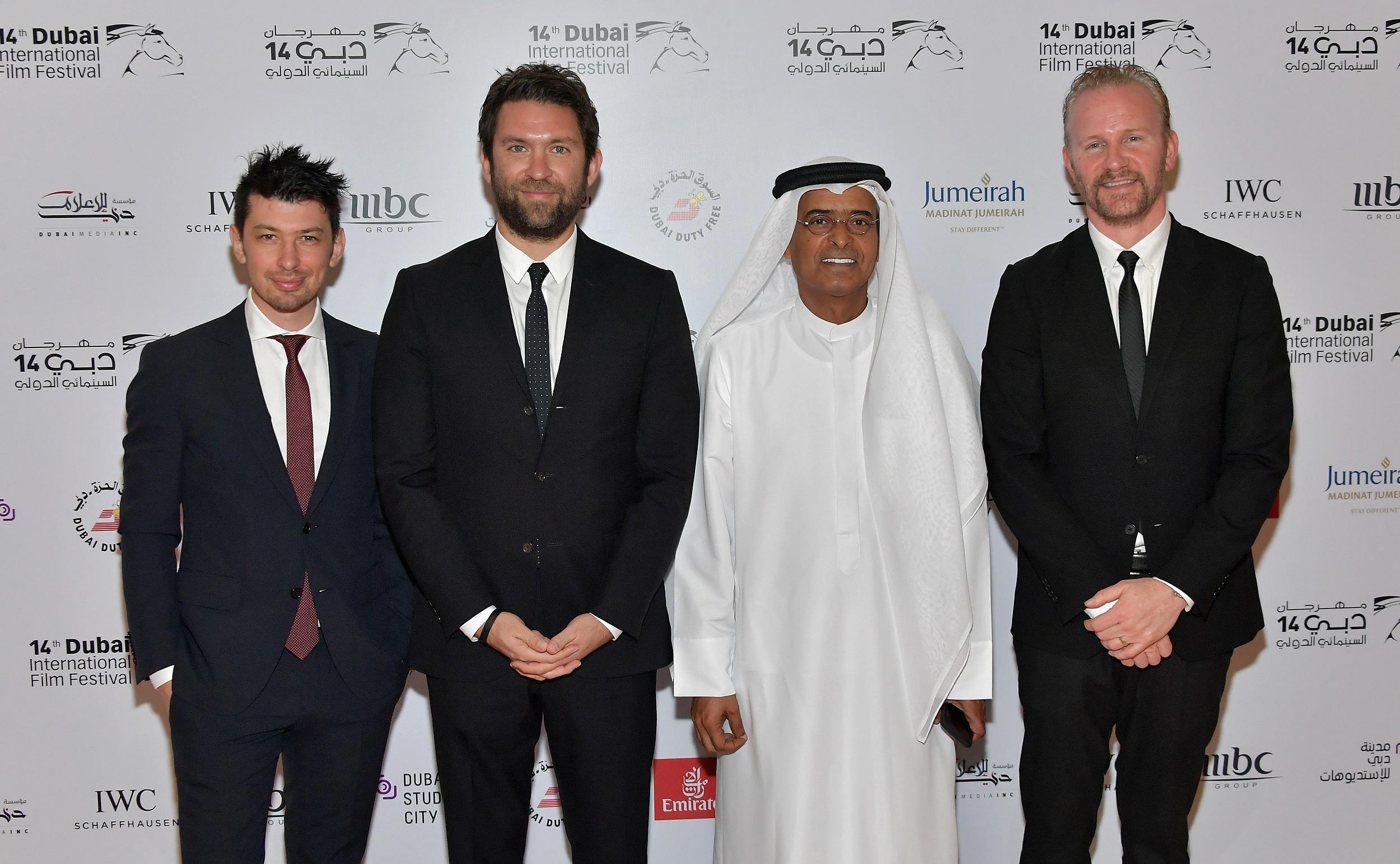Jeremy Chilnick, Matthew Galkin, Abdulhamid Juma, Morgan Spurlock present at Dubai International Film Festival.