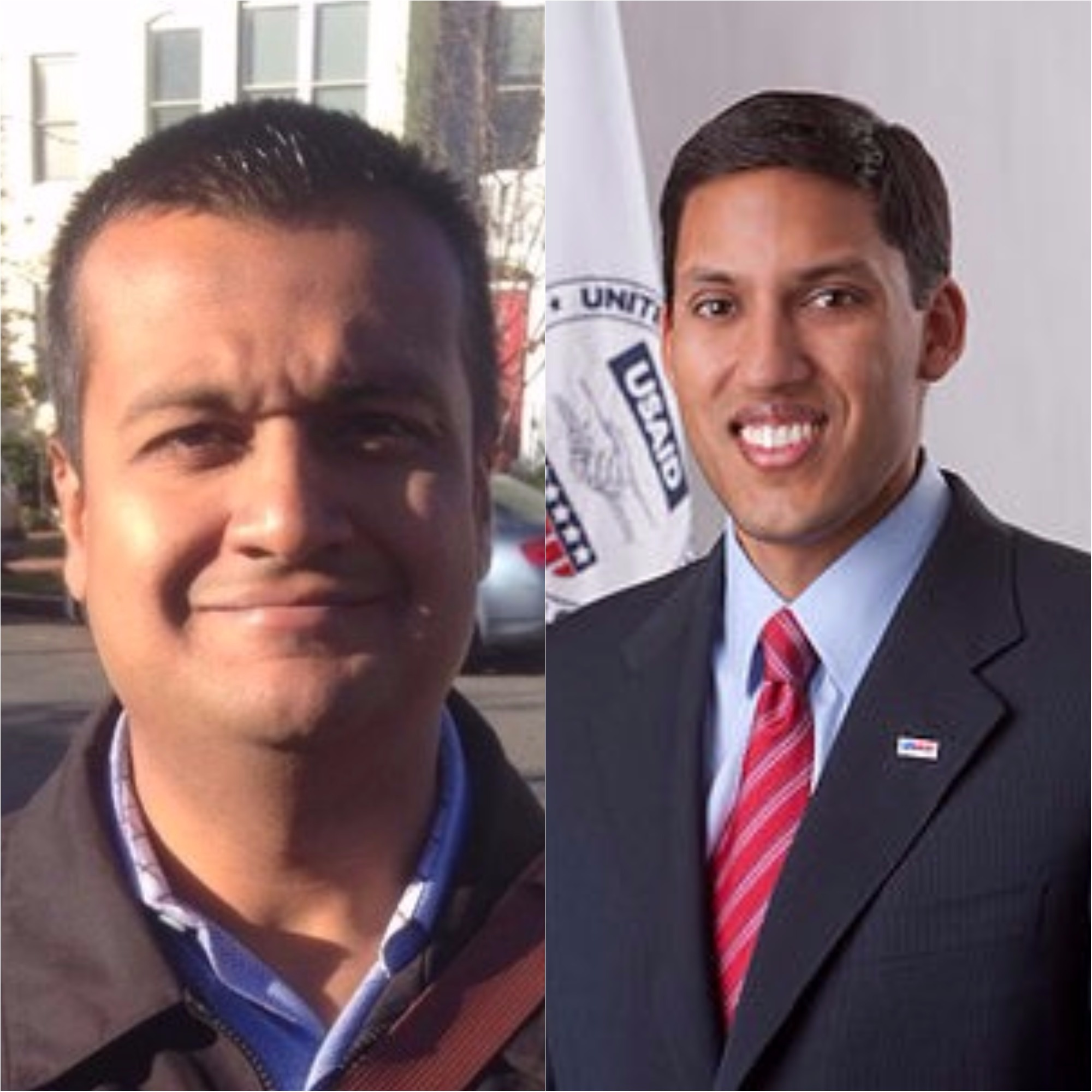 White House press official Raj Shah (left) and ex-Obama administration appointee Rajiv Shah.