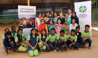 Volunteers and members from Singapore International Foundation (SIF) and the Parikrma Humanity Foundation with educators and students. Photo courtesy: PRNewsfoto/SIF