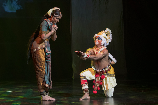 Anjaneyam's Ramayana unfolds the epic from the perspective of Hanuman. Here, the monkey god is seen showing Rama's signet ring to Sita at the Ashoka Vatika convincing her that Lord Ram will soon come to rescue her from the clutches of demon king Ravana. Renowned Bharatnatyam dancer from India Lavanya Ananth effectively showcases the character of Sita going to the tribulations through her dance form. The role of Hanuman has been essayed by famous dancing exponent Haripadam from Kalakshetra Repertory Theatre of India.