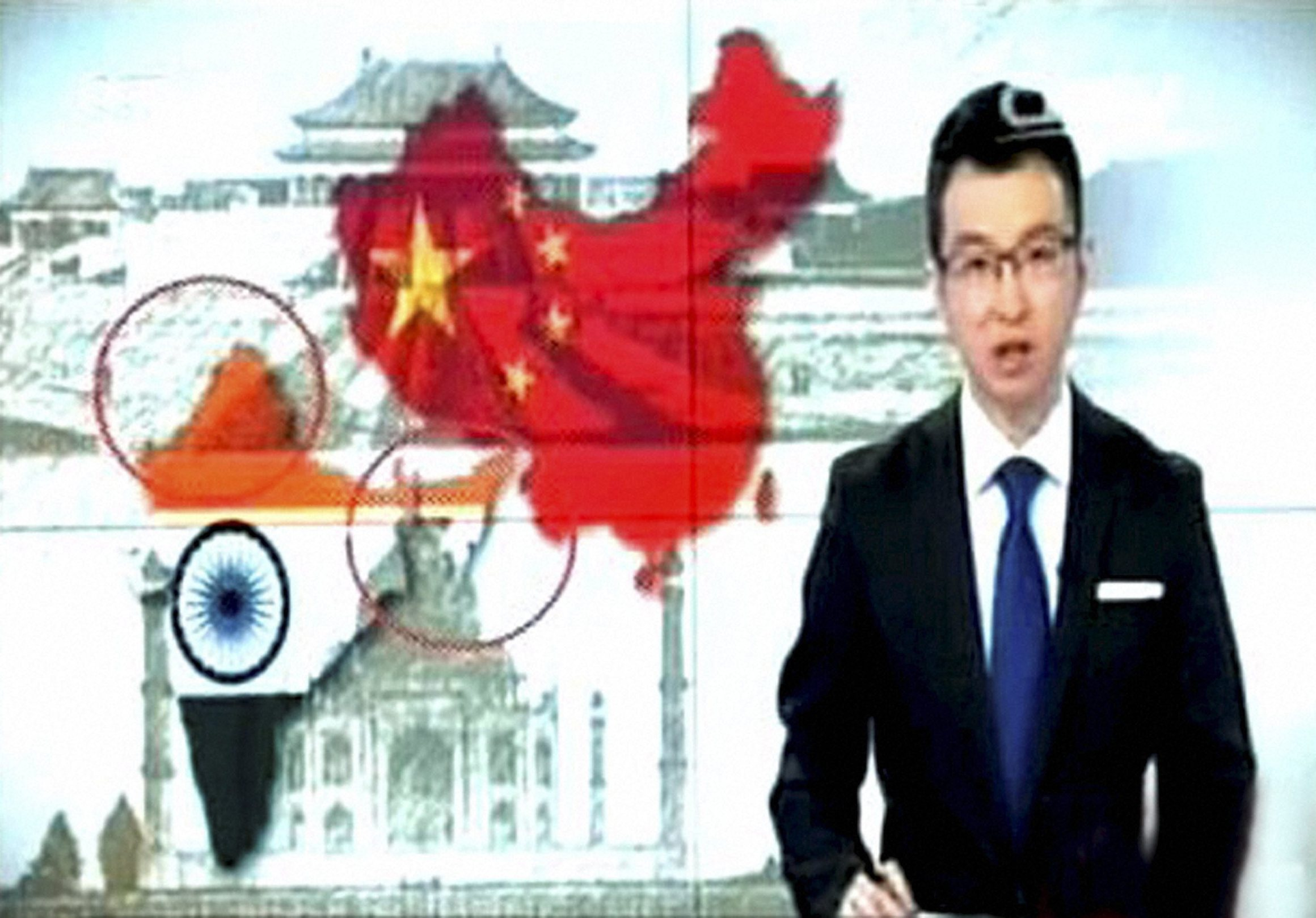 Screengrab of the CCTV report showing Indian territory without Jammu and Kashmir and Arunachal Pradesh.