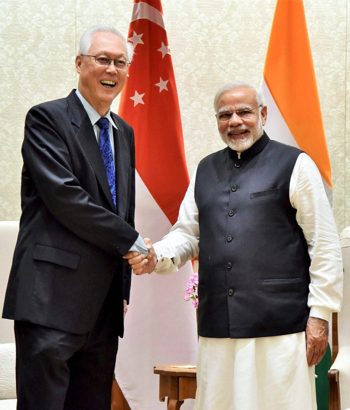 Former minister of Singapore Goh Chok Tong meeting Indian Prime Minister Narendra Modi yesterday in Delhi.