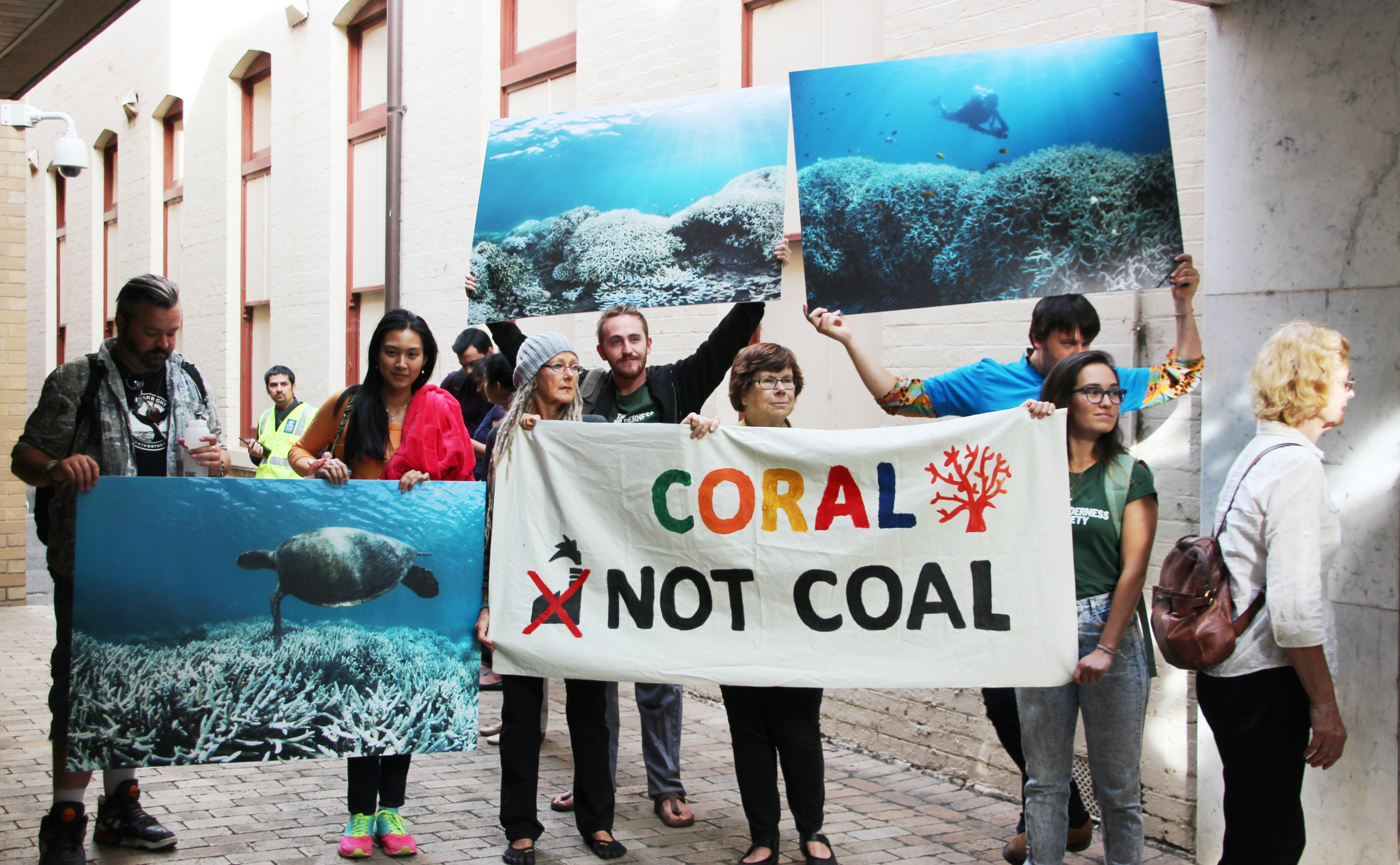Protesters against expansion plans that would affect the Great Barrier Reef.