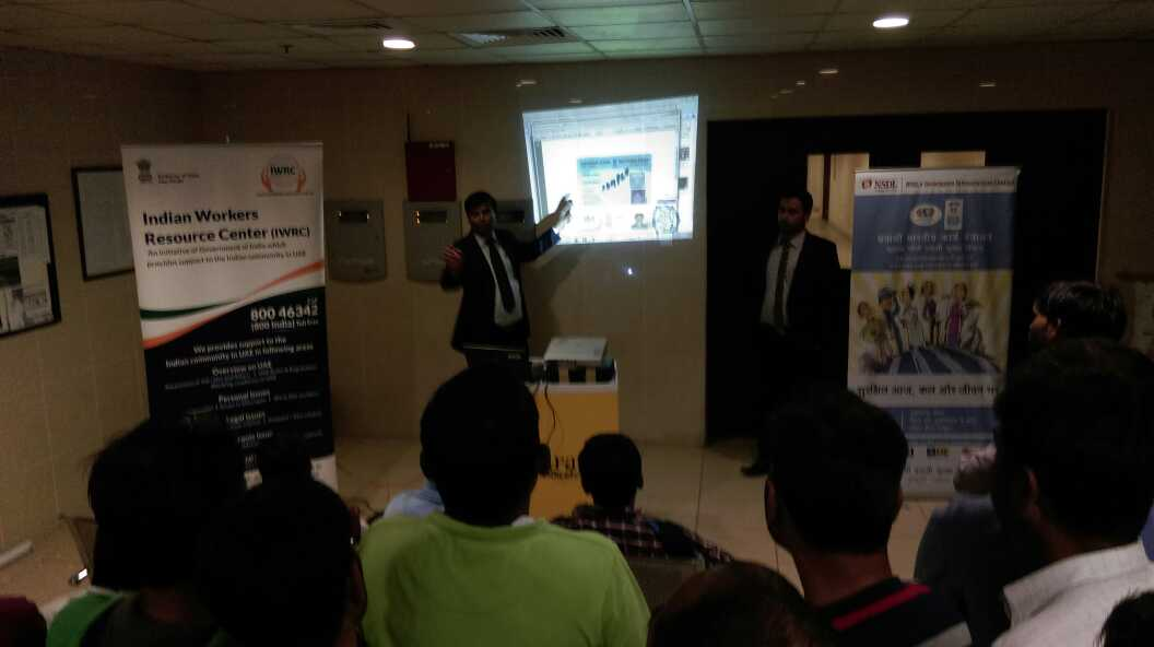 Indian workers attending an Awareness Camp held in Dry Docks Camp, Dubai launched by the MEA. Photo courtesy: MEA)