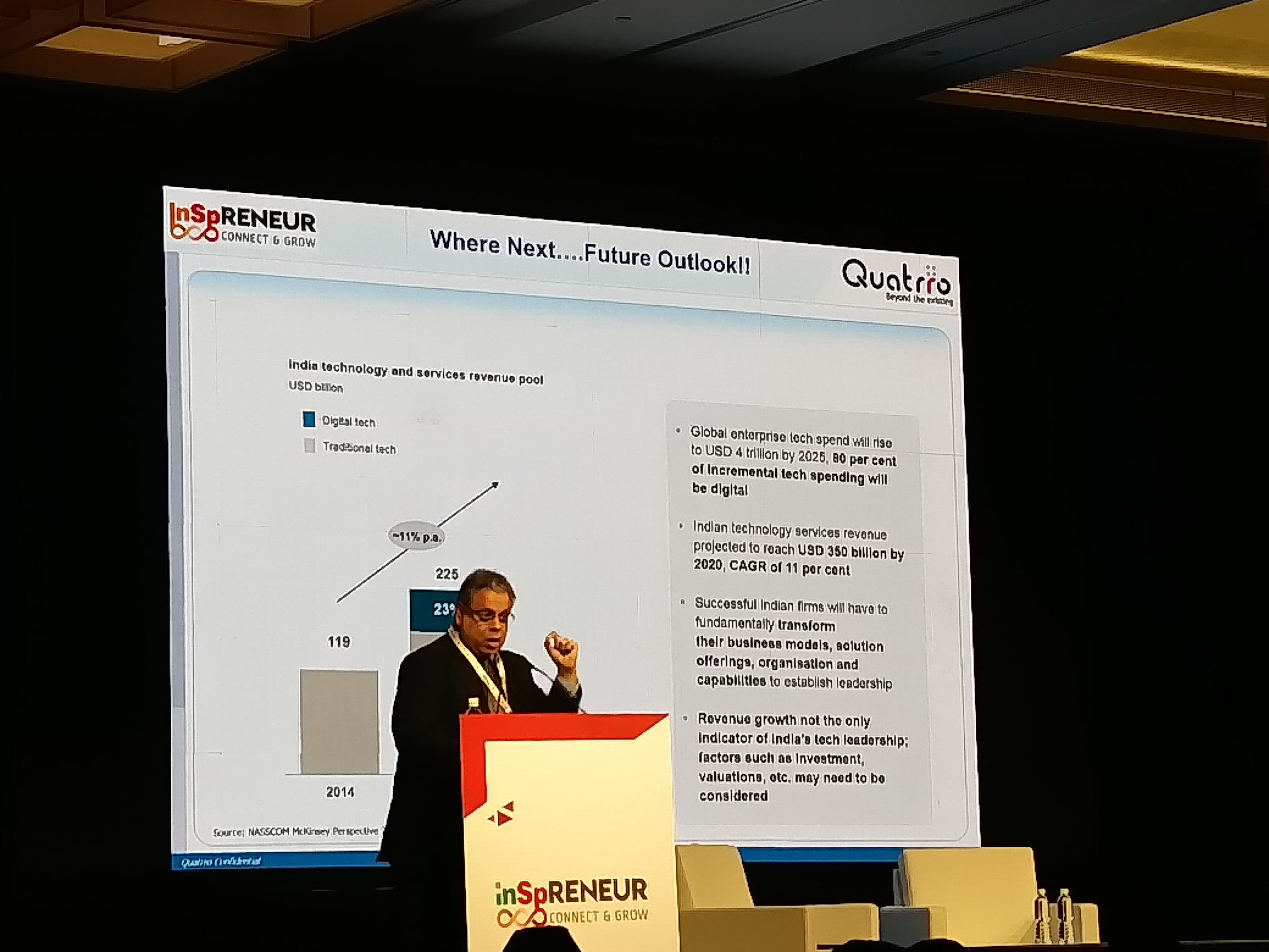 Raman Roy, Chairman, National Association of Software & Services Companies (NASSCOM), India delivered the keynote address. The MD and CEO of business and knowledge processing services firm Quatrro highlighted that India, the third largest startups market in the world, needs to reskill its workforce