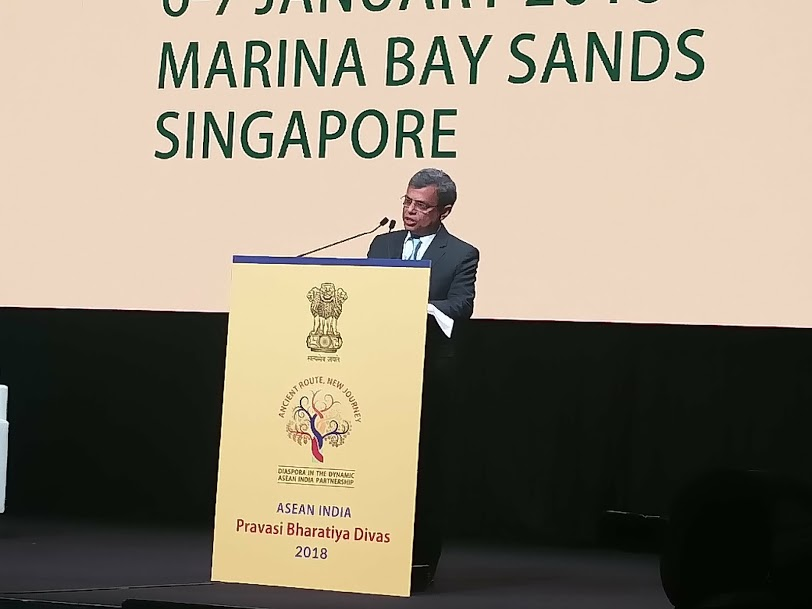 HE Jawed Ashraf, High Commissioner of India, Singapore speaking at the Pravasi Bharatiya Divas (PBD) which started in Singapore today.