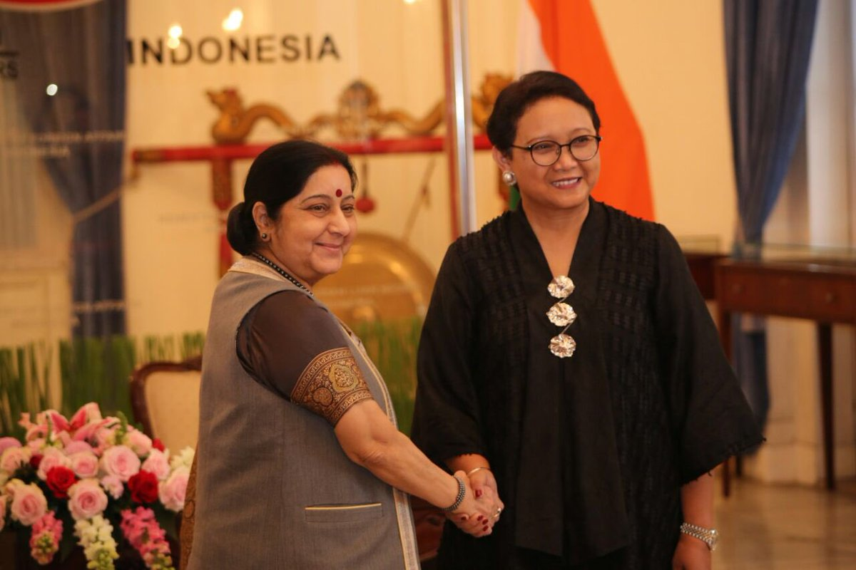 Indian Minister for External Affairs Sushma Swaraj with Retno Marsudi, Foreign Minister of Indonesia ahead of the India-Indonesia Joint Commission Meeting in Jakarta on 5 January. The Minister reaffirmed India's desire to enhance partnership across all sectors in keeping with its Act East Policy.