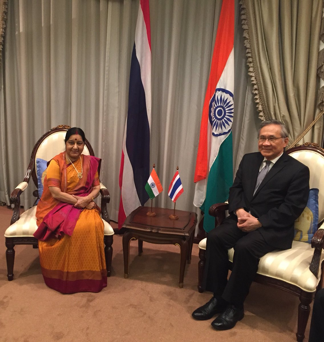 In first leg of three nation tour, the  Indian Minister for External Affairs Sushma Swaraj arrived in Thailand on 4 January to discussed issues of connectivity, security and cultural cooperation with Don Pramudwinai, Foreign Minister of Thailand.