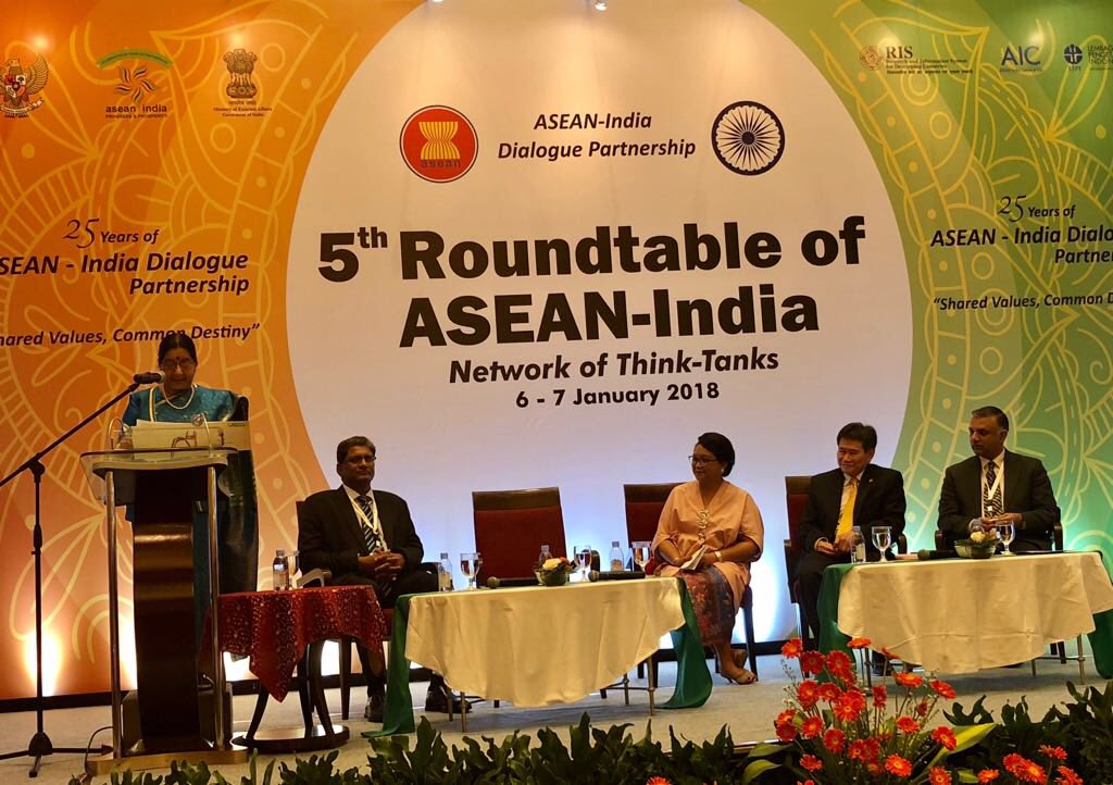 EAM Sushma Swaraj inaugurating the 5th Round Table of ASEAN India Network of Think-Tank. In attendance are FM of Indonesia Retno Marsudi, Secretary Gen of ASEAN and DG RIS. Photo courtesy: MEA