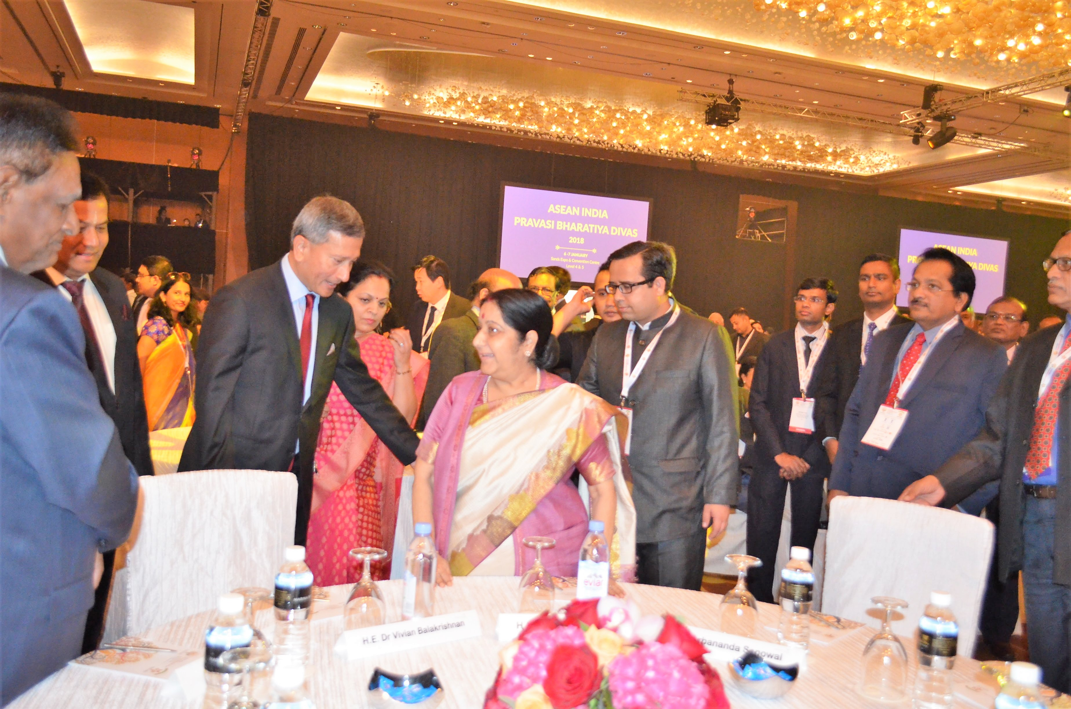 Singapore's Minister for Foreign Affairs Dr Vivian Balakrishnan with Indian EAM Sushma Swaraj before the opening address on Day 2 of the PBD
