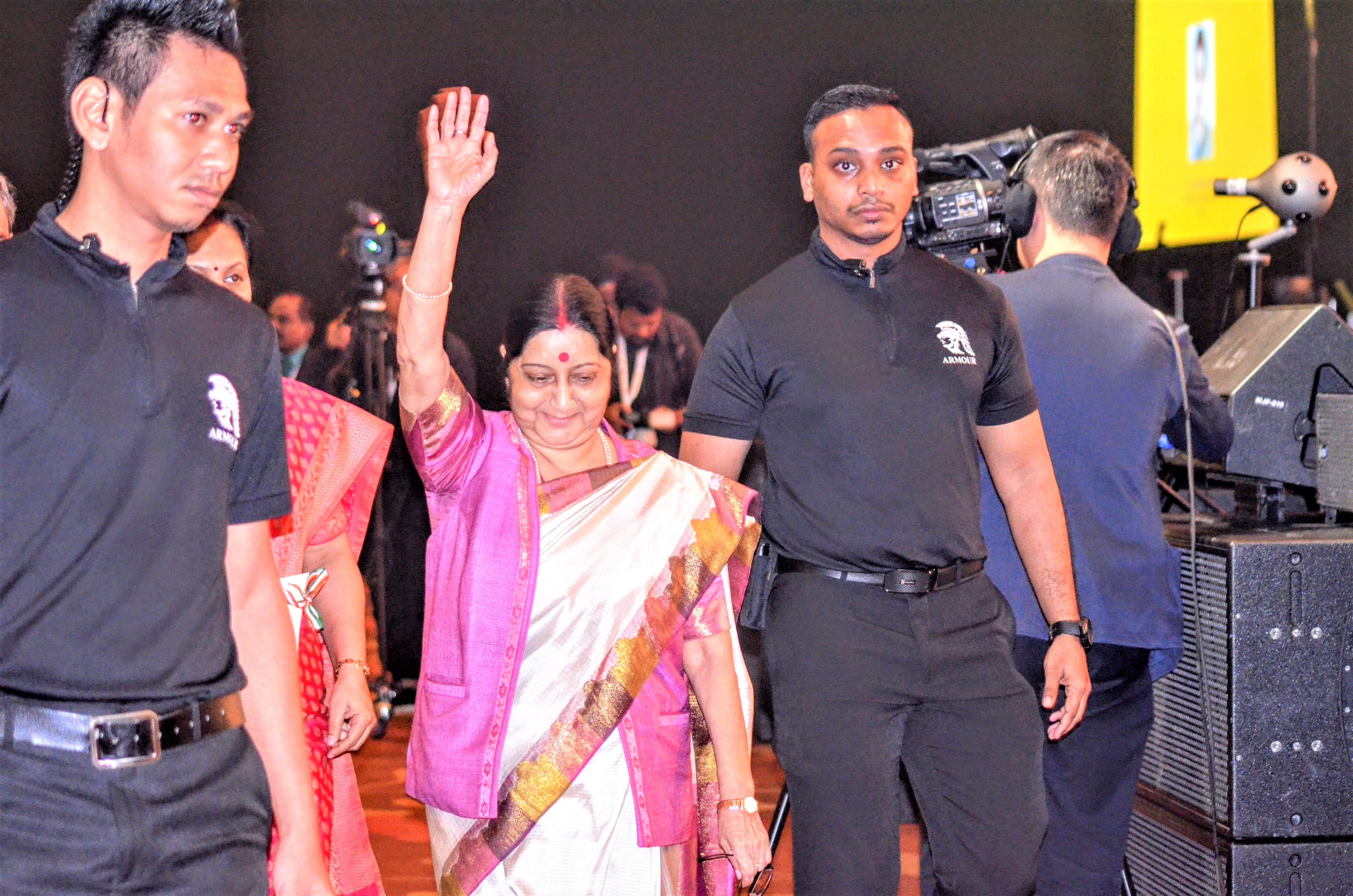 Indian Minister of External Affairs Sushma Swaraj waves hand to Indian diaspora while arriving at the Pravasi Bharatiya Divas at Marina Bay Sands.