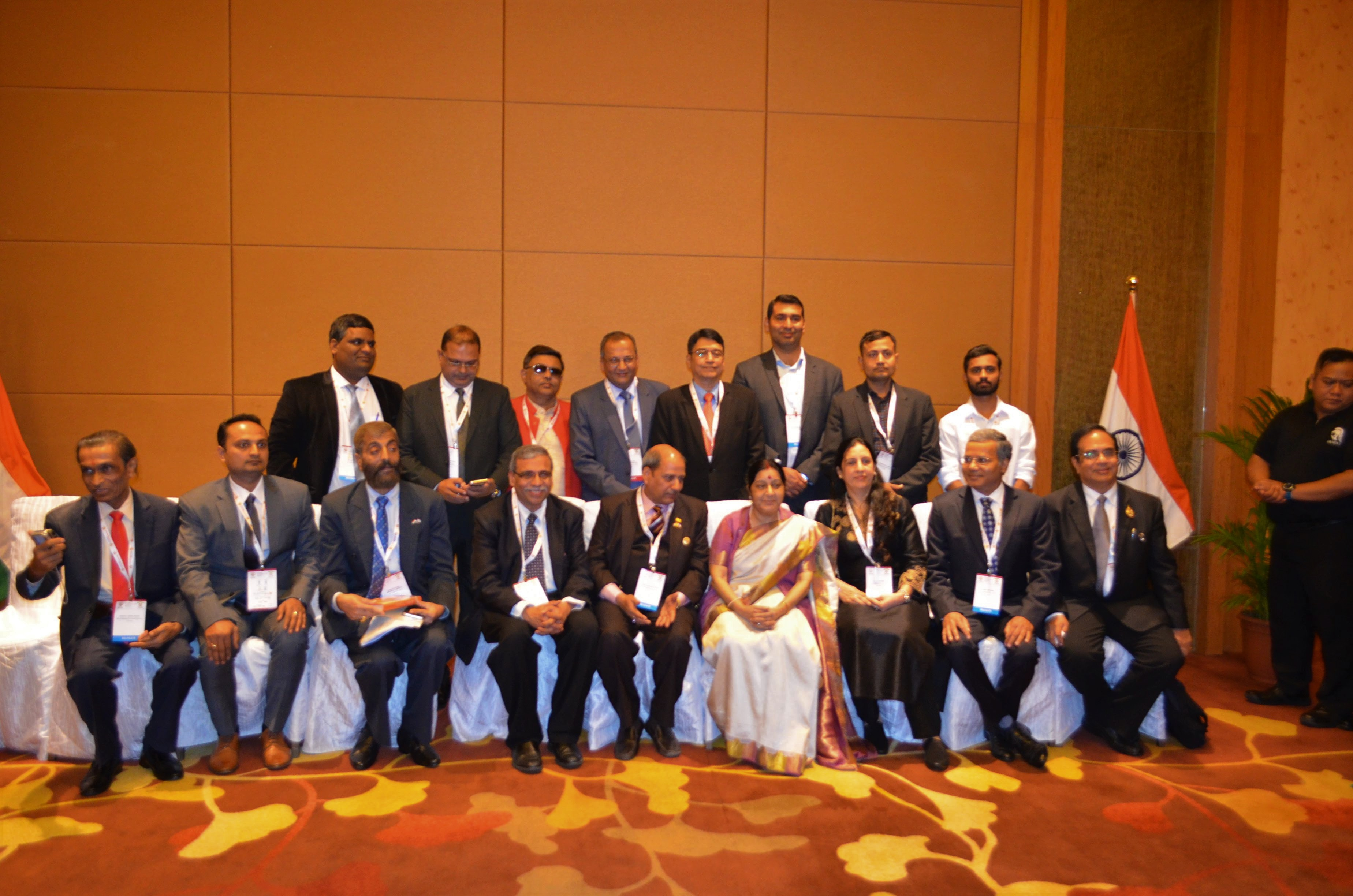 Indian Minister of External Affairs Sushma Swaraj (centre) sitting with the Indian delegates from different parts of the ASEAN countries.