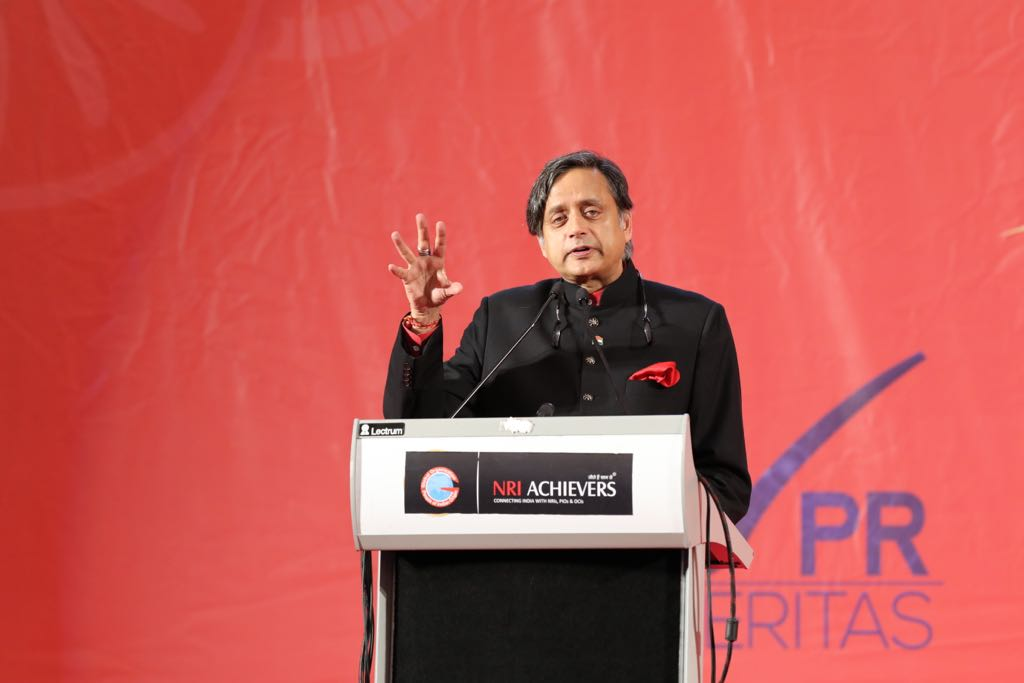 Noted author and Member of Parliament of India Shashi Tharoor speaking at GOPIO convention in Bahrain.