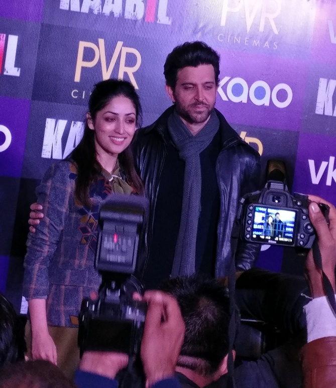 Hrithik Roshan and Yami Gautam at Kaabil press conference in New Delhi, India.